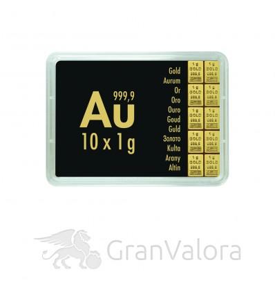 10 x 1g Gold Tafelbarren (Goldtafel, CombiBar)