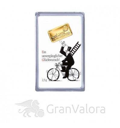 2,5g Gold Geschenkbarren - Glückwunsch
