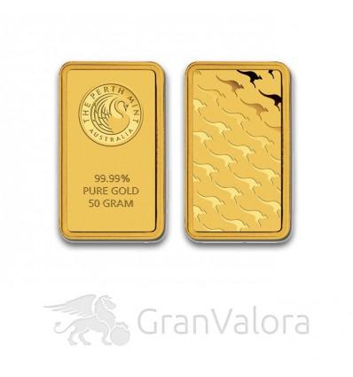 50 g Goldbarren Perth Mint (Känguru)