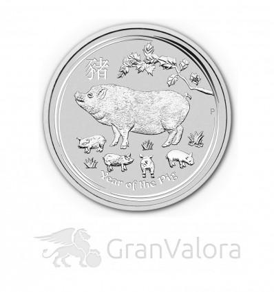 10 oz Silber Lunar II Schwein 2019