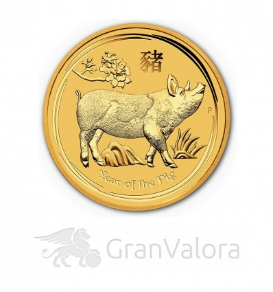 1 oz Gold Lunar II Schwein 2019