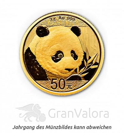 3 g Gold China Panda ältere Jahrgänge