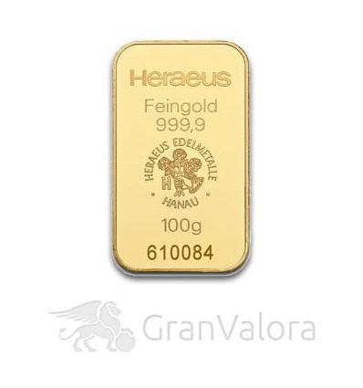 100 g Goldbarren Heraeus